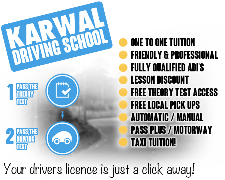 Book your driving lessons in leicester with karwal driving school, one to one tuition, friendly, professional, fully qualified instructors in leicester, driving lesson discounts, free theory test access, free local pickup, automatic and manual driving lessons, pass plus leicester, motorway lessons, taxi tuition